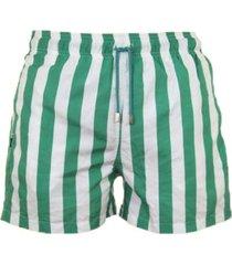 pantaloneta de baño verde y blanca regata beachwear palomino