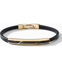 men's david yurman faceted id leather bracelet with forged carbon & 18k gold