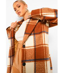 flannel oversized wool look coat, tobacco