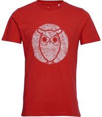 alder wave owl tee - gots/vegan t-shirts short-sleeved röd knowledge cotton apparel