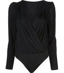 milly long-sleeve wrap bodysuit - black