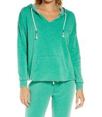 women's vintage havana cord hoodie, size medium - green