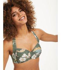 balinese retreat twist soft cup halter bikini top
