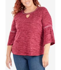 ny collection plus size embellished flare-sleeve keyhole top