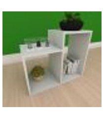 kit com 2 mesa de cabeceira simples com 2 nicho em mdf cinza