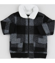 jaqueta infantil em fleece xadrez com bolsos cinza