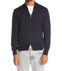 brunello cucinelli zip cashmere & silk sweater, size 46 us in navy at nordstrom