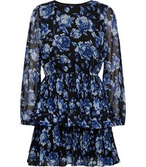 amber pleated dress kort klänning blå gina tricot