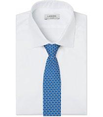 cravatta su misura, lanieri, optical seta blu, quattro stagioni | lanieri