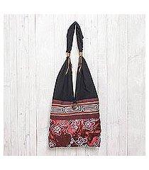 cotton shoulder bag, 'glittering red flower' (thailand)