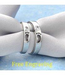 free engraving footprints stainless steel 2 pcs couple ring set matching rings