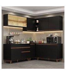 cozinha completa de canto madesa reims 382001 com armário e balcão preto preto