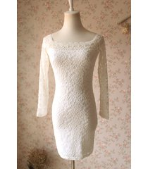 white lace dress long sleeve stretchy lace sheath dress women lace party dresses