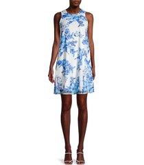 calvin klein women's floral sleeveless shift dress - cornflower - size 12