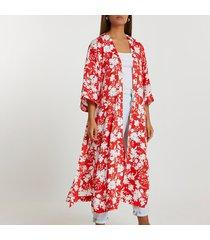 river island womens red floral printed kimono