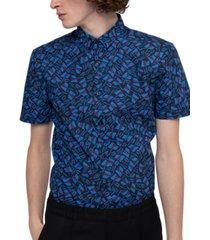 hugo boss men's extra slim-fit geometric shirt