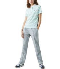 lacoste cotton mesh-collar striped polo shirt