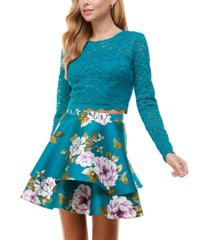 city studios juniors' two-piece lace top & double-ruffle skirt