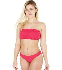 bikini con peto elasticado rojo h2o wear