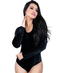body mvb modas manga longa veludo collant feminino