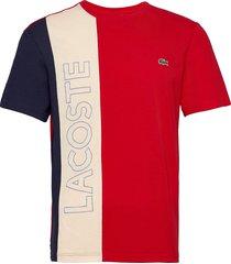 men s tee-shirt t-shirts short-sleeved röd lacoste