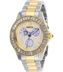 reloj invicta acero dorado modelo 284kl para dama, colección angel