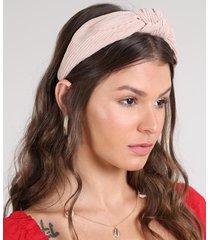 tiara feminina em veludo cotelê com nó rosê