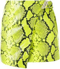 the attico low-rise python-printed mini skirt - yellow
