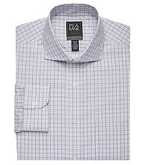 travel tech collection slim fit cutaway collar plaid shirt, by jos. a. bank