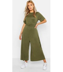 plus twist detail cap sleeve culotte jumpsuit, khaki