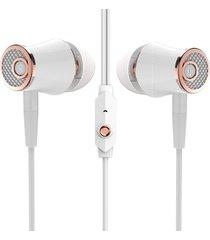 audífonos, r21 alta calidad en el receptor de cabeza estéreo de alta fidelidad del auricular de 3.5mm earbuds del oído con el micrófono para la pc del mp3 del teléfono (oro de rose)