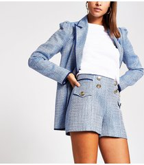 river island womens blue boucle button front shorts