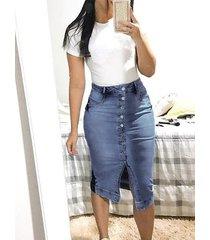 button diseño falda midi de cintura media de mezclilla