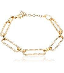 14k gold vermeil & cubic zirconia pavé link bracelet