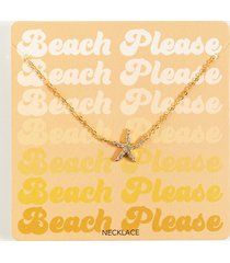 women's beach please starfish necklace in blue by francesca's - size: one size