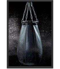 quadro oppen house 60x40cm boxe esporte treino saco de pancada moldura preta c/vidro - preto - dafiti