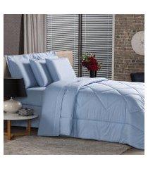 jogo de cama solteiro plumasul premium percal 230 fios 3 pçs azul