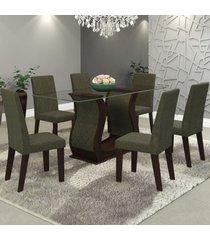 mesa de jantar 6 lugares detalhes nogueira/camurça - viero móveis