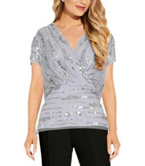adrianna papell blouson sequin top