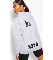 back print slogan hoodie, grey marl