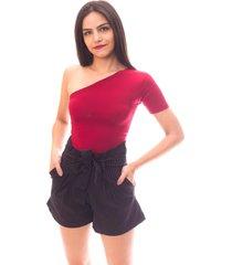 short moda vicio clochard risca de giz - preto - feminino - viscose - dafiti