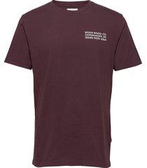 info t-shirt t-shirts short-sleeved röd wood wood