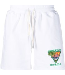 casablanca tennis club-embroidered organic cotton shorts - white