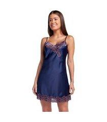 camisola curta de alça azul marinho com renda rosê