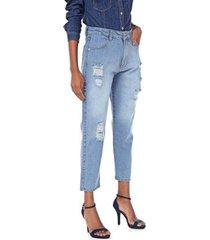 calça jeans mom destroyed delavê feminina