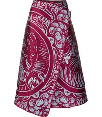 f.r.s for restless sleepers panther print wrap skirt - red