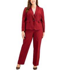 le suit plus size mini crosshatch pantsuit