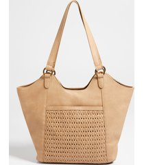 maurices womens tan woven tote bag beige