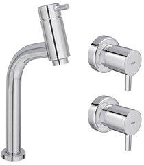 kit monocomando para lavatório de mesa bica baixa link cromado