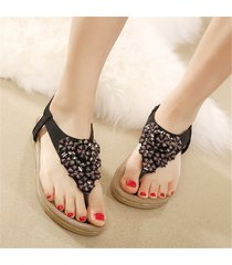 sandalias zapatos bohemia cristal dedo pie clip casual -negro
